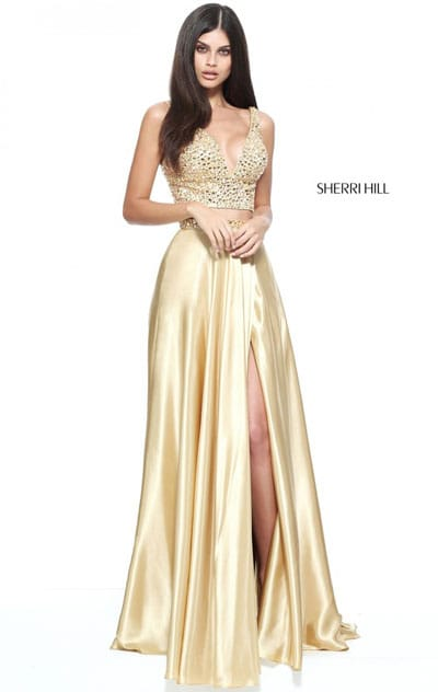 2 PC Sherri Hill 50993 Gold V Neck Beaded 2017 Satin Evening Gown On Sale