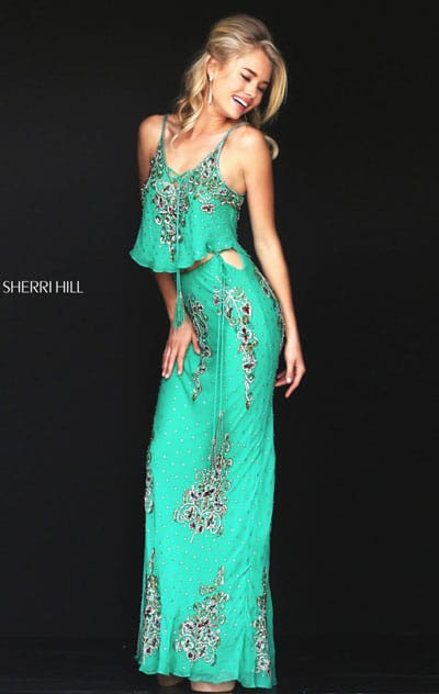 Beaded Patterned Sherri Hill 50375 Sleeveless Green/Multi 2016 Scoop Neckline Slim Straps Long Evening Dresses