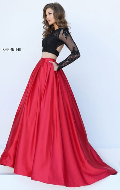 Two Piece Lace Long Sleeves Sherri Hill 50357 Open Back Black/Red Long Satin Evening Dresses 2016