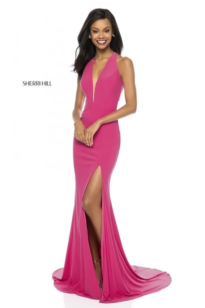 2018 Sherri Hill 51806 V Neckline Jersey Long Fitted Party Gowns Fuchsia